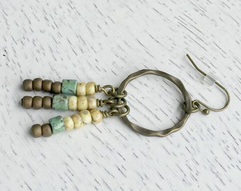 Boho Beaded Dangle Earrings, Hammered Brass Hoop Earrings, Beaded Tassel Earrings, Boho Jewelry, Rustic Dangle Earrings
