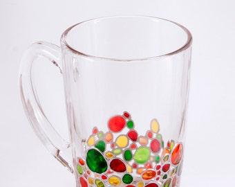 Mosaic Mug, Unique Mug Hand Painted, Custom Coffee Mug, Multicolored Mug, Rainbow Mug, Woodland Mug, Painted Coffee Mug, Personalized Mug