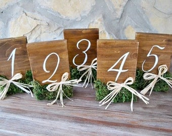 Rustic Wedding Table Numbers Moss Raffia. Wooden Numbers Table. Hand Painted Wedding Number Table. Rustic Wedding. Country wedding.