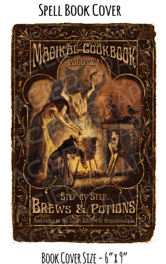 Book Covering Sheets : Vintage spell bookcover halloween witch cookbook digital