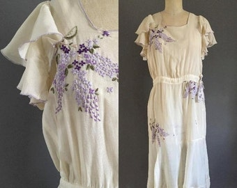 25% OFF SALE 1920's Lilac and Leaves Embroidered Drop Waist Dress