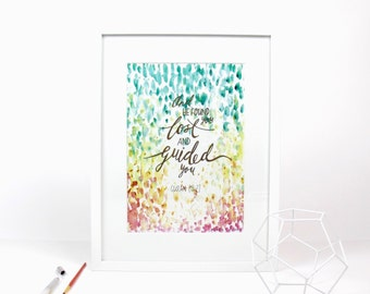 Guided- Watercolour Islamic Wall Art Print with Quran quote A4