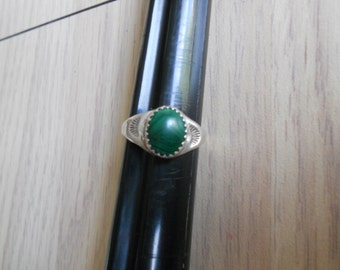 Ring   Silver and Malachite.   Stock #(1132).