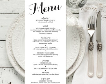 PRINTABLE Wedding Dinner Menu | 4x9 Personalized Wedding Reception Menu | Rehearsal Dinner Menu | Color Changes Included DIGITAL FILE
