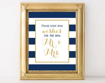 PRINTABLE Wedding Wishes for the New Mr. & Mrs Sign | Guest Sign | Nautical Wedding Decor | Navy Blue, White, Gold Wedding INSTANT DOWNLOAD