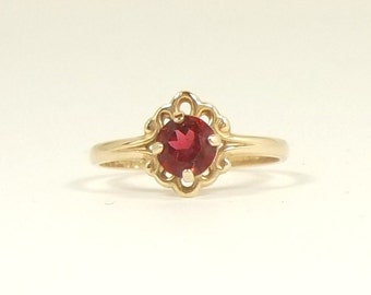Ruby Red Genuine Spinel 10k Yellow Gold Antique Ring Size 2 Stamped PSCo