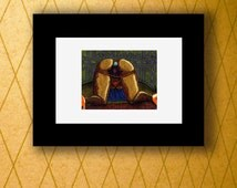"""Nude Erotic Kneeling Woman Sex Toy Buttplug Drawing """"Fleur-De-Lis"""" by CRD Larson *Mature*"""