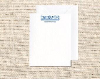 Bookshelf Personalized Stationery - Set of 20 - Flat Note Cards