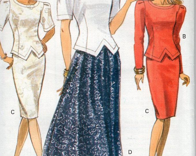 Free Us Ship Sewing Pattern Vogue 7778 Retro 1990s 90's Waistcoat Blouse Skirt Full Slim Uncut Size 6 8 10 Bust 30.5 31.5 34