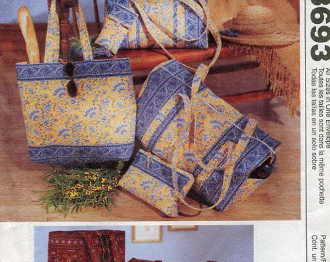 FREE US SHIP McCall's 3693 Fashion Accessories Fabric Tote Bag Luggage Purse Fabric 2002 Sewing Pattern Old Store Stock Out of Print