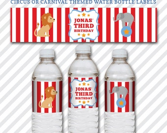 Circus Celebration Water Bottle Labels - Kid's Birthday Party - Circus or Carnival Theme Printable DIY Drink Labels