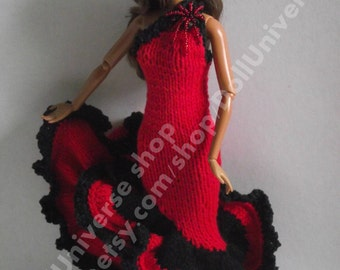 OOAK Hand Knitted Dress for Barbie and Fashion Royalty doll.