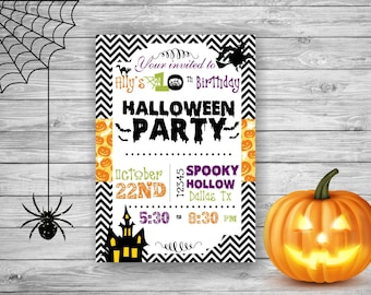 Halloween Invitation Halloween Birthday Party Invitation Kids Spooky Scary Witch Bats Pumpkins Block Party Birthday Invitation