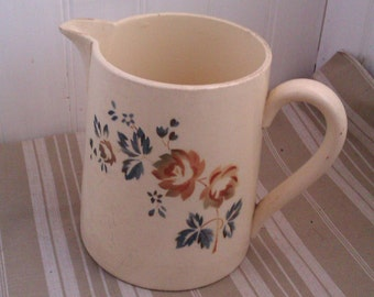 Large Milk Pitcher, Jug Vintage Digoin, French Roses Motif, Cottage Chic Vase