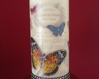 Decorated Candle, Butterfly candle, Birthday, Mother's Day, Personalized gift,