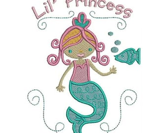 Lil' Princess Mermaid Embroidery Design - Instant Digital Download