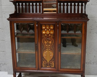 Antique Arts & Crafts Inlaid Cabinet