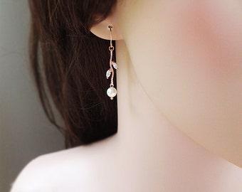 Silver / rose gold - Leaf & pearl earrings