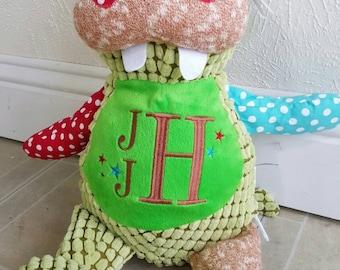 Alligator Harlequin Cubby, personalized baby gift, birth announcement, keepsake monogrammed stuffed animal