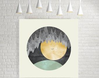 Minimalist wall art, minimalist art print, minimalist art, minimalist print, minimalist poster, nature prints, nature art, yellow, turquoise