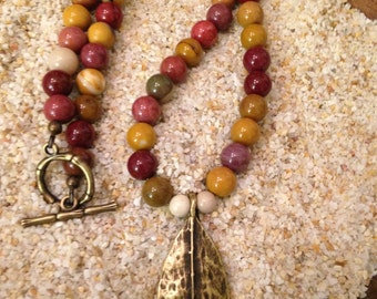 19 inch Moukaite Necklace with brass leaf pendant and toggle clasp