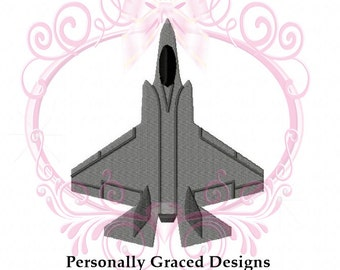 Instant Download F-35 Lightning Military Aircraft Fighter Jet Airplane Embroidery Design, 3in, 4in, 5in, 6in, 4x4, 5x7, 6x10, Air Force Jet