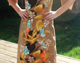 Sale! Vintage Hawaiian Dress, Asian Inspired, Luau, Tiki, Viva Las Vegas
