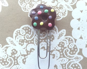Donut with chocolate frosting and sprinkles paperclip!