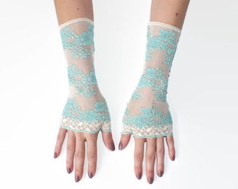 Ivory Lace gloves,Wedding gloves, bridal gloves,lace gloves,Fingerless Gloves