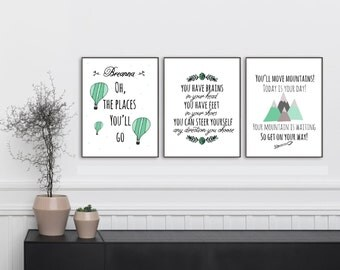 Oh the Places You'll Go Personalized Set of 3 Prints, Dr Seuss Quote from Oh the Places you'll Go, Custom Wall Prints, 8x10 x3