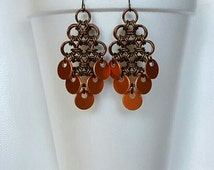 Bronze Diamond Earrings with Bronze Dark Orange Dangles, Fringe Earrings, Chainmail Jewellry, Trendy, Chic, New Age Hippie, Artisan Jewelry