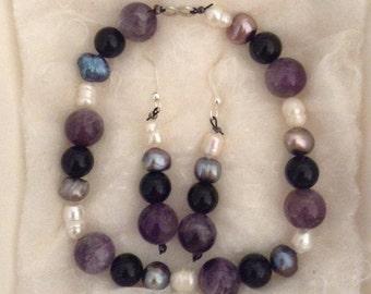 Amethyst Bracelet & Earring Set