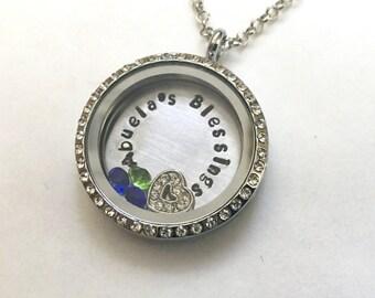ABUELA'S BLESSINGS - Custom Floating Charm Locket - Memory Locket - Custom Hand Stamped Gift for Abuela