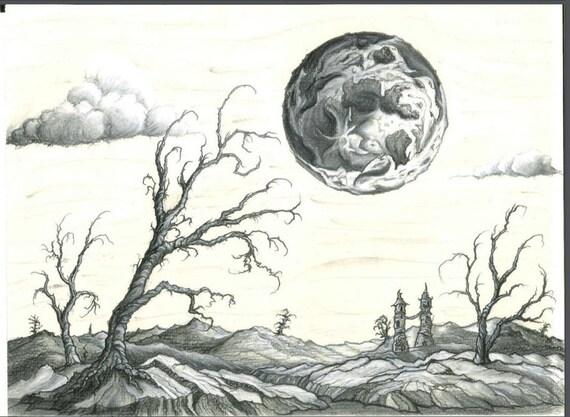 Original fait main au fusain craie et dessin au crayon - Main dessin crayon ...