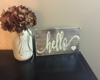 Rustic Wood Sign, Hello Sign, Rustic Hello Sign, Wooden Sign, Rustic Decor, Rustic Home Decor, Wood Sign, Rustic Sign, Rustic Wall Decor
