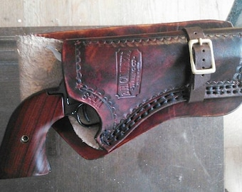 Double Stitched Western Leather Holster with Leg Ties - 22 Pistols & similar up to 4.5 inch Barrels Fathers Day Colt 45 Peace Maker Holster