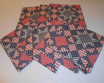 Red/White/Blue Block Cotton Handmade Napkins (8)