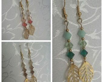 Gold Tone Glass Bead Leaf Earrings