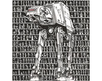Rogue One Art, Star Wars Art, Force Awakens Art, Movie Fan Art, Star Wars Gift, Rogue One, film art, hand drawn, movie art, movie poster