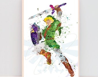 """CLEARANCE! Legend of zelda poster, 11x17"""" watercolor Link print, gifts for geeks, christmas gifts for nerds, wall art, gifts for him_13"""