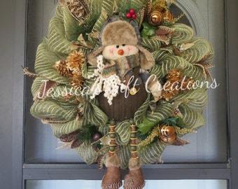 Snowman Rustic Mesh Wreath/Camouflage/Forest/Christmas Decor/Door Decor/Holiday/Perfect Anytime Gift/Decoration/Winter Wreath/Ready to Ship