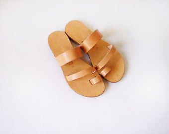Handmade leather sandals in variety of Colours / leather slides / two strap sandals / handmade