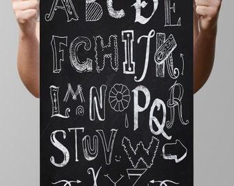 INSTANT DOWNLOAD-Chalkboard Alphas-Alphabet-Letters-Initials-Subway art-Typography-Chalk-Blackboard-Monograms-Alphabet-13x19-No.129