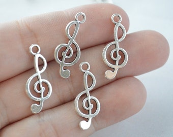 12 Pcs Music Note Charms Antique Silver Tone 2 Sided 10x24mm - YD0315