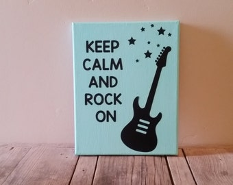 Keep Calm And Rock On Canvas, / Nursery Decor / Rockstar theme