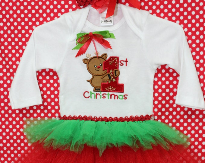 Baby's First Christmas Outfit, First Christmas bodysuit,Baby Girl Christmas outfit,Rudolph Christmas shirt, Christmas tutu,Red headband