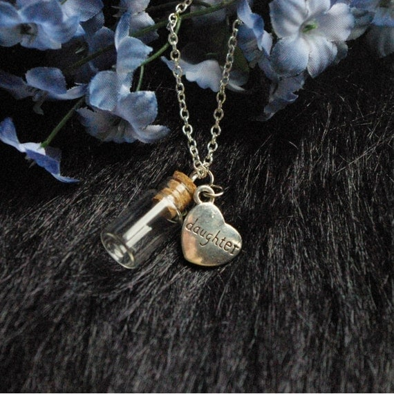 Memorial necklace for daughter urn vial necklace by for Father daughter cremation jewelry