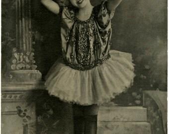 Vintage Photo Ballerina Girl Instant Digital Download Clip Art Papercrafting Scrapbooking