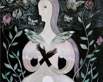 The Moth Fae - limited edition giclee fine art print-witchy decoration fairy tale dreamy moth fairy painting illustration