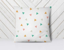 Mint Peach Gray pillow, Nursery Modern Pillow, Stamped Triangles Pillowcase, Minimalist Geometrical Cover Pillow, Nursery Decorative Pillows